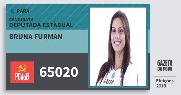 Santinho Bruna Furman 65020 (PC do B) Deputada Estadual | Pará | Eleições 2018