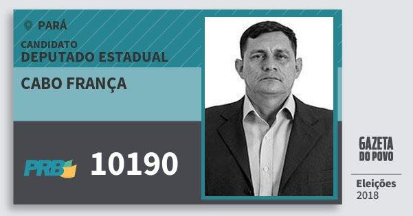 Santinho Cabo França 10190 (PRB) Deputado Estadual | Pará | Eleições 2018