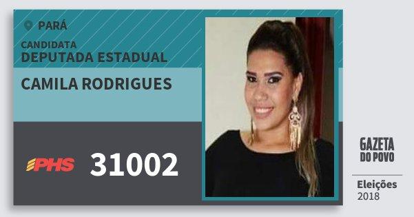 Santinho Camila Rodrigues 31002 (PHS) Deputada Estadual | Pará | Eleições 2018