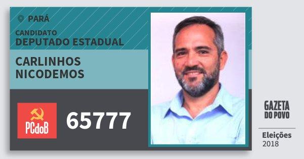 Santinho Carlinhos Nicodemos 65777 (PC do B) Deputado Estadual | Pará | Eleições 2018