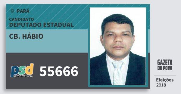 Santinho Cb. Hábio 55666 (PSD) Deputado Estadual | Pará | Eleições 2018