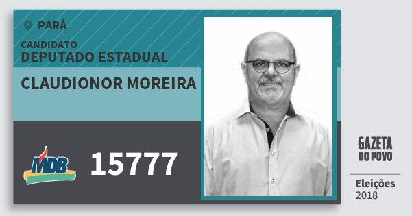 Santinho Claudionor Moreira 15777 (MDB) Deputado Estadual | Pará | Eleições 2018