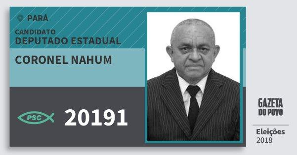 Santinho Coronel Nahum 20191 (PSC) Deputado Estadual | Pará | Eleições 2018