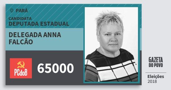 Santinho Delegada Anna Falcão 65000 (PC do B) Deputada Estadual   Pará   Eleições 2018