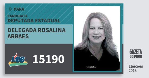 Santinho Delegada Rosalina Arraes 15190 (MDB) Deputada Estadual | Pará | Eleições 2018