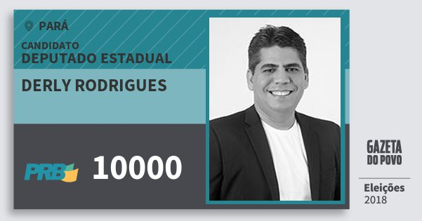 Santinho Derly Rodrigues 10000 (PRB) Deputado Estadual | Pará | Eleições 2018