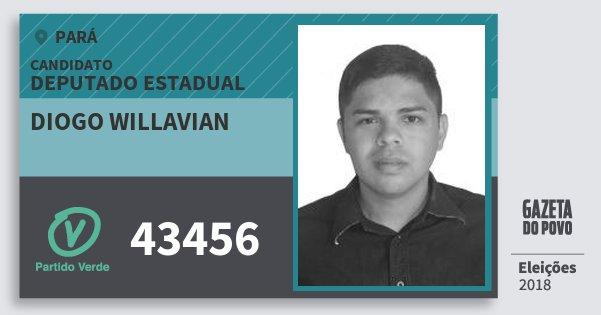 Santinho Diogo Willavian 43456 (PV) Deputado Estadual | Pará | Eleições 2018