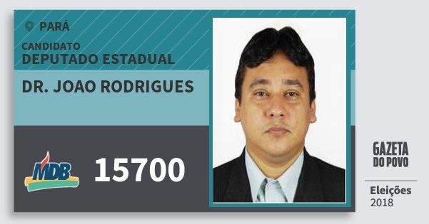 Santinho Dr. Joao Rodrigues 15700 (MDB) Deputado Estadual | Pará | Eleições 2018