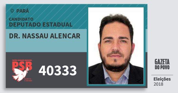 Santinho Dr. Nassau Alencar 40333 (PSB) Deputado Estadual | Pará | Eleições 2018