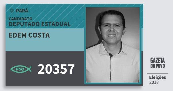 Santinho Edem Costa 20357 (PSC) Deputado Estadual | Pará | Eleições 2018