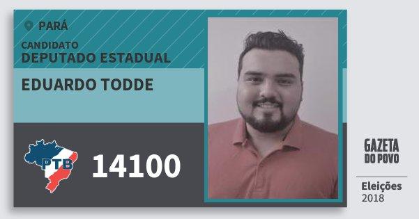 Santinho Eduardo Todde 14100 (PTB) Deputado Estadual | Pará | Eleições 2018