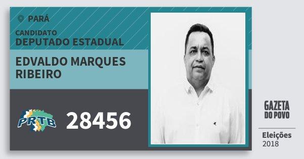 Santinho Edvaldo Marques Ribeiro 28456 (PRTB) Deputado Estadual | Pará | Eleições 2018