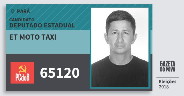 Santinho Et Moto Taxi 65120 (PC do B) Deputado Estadual | Pará | Eleições 2018