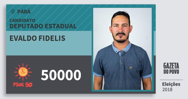 Santinho Evaldo Fidelis 50000 (PSOL) Deputado Estadual | Pará | Eleições 2018