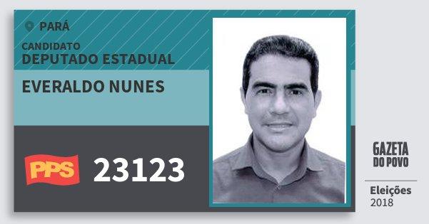 Santinho Everaldo Nunes 23123 (PPS) Deputado Estadual | Pará | Eleições 2018
