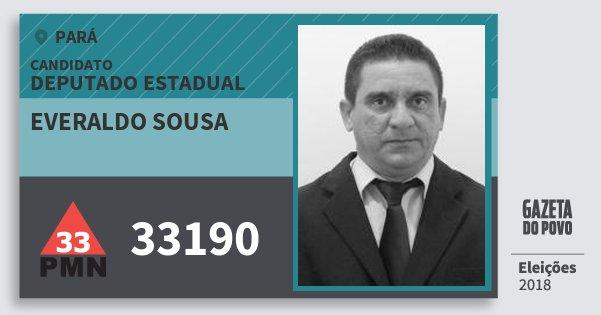 Santinho Everaldo Sousa 33190 (PMN) Deputado Estadual | Pará | Eleições 2018