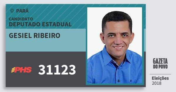 Santinho Gesiel Ribeiro 31123 (PHS) Deputado Estadual | Pará | Eleições 2018