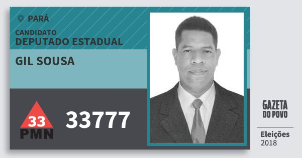 Santinho Gil Sousa 33777 (PMN) Deputado Estadual | Pará | Eleições 2018