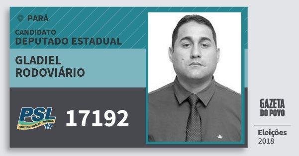 Santinho Gladiel Rodoviário 17192 (PSL) Deputado Estadual | Pará | Eleições 2018