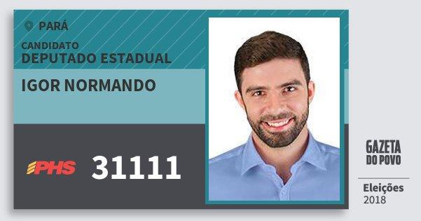 Santinho Igor Normando 31111 (PHS) Deputado Estadual | Pará | Eleições 2018