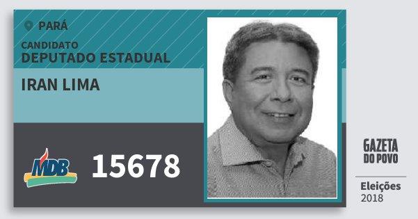 Santinho Iran Lima 15678 (MDB) Deputado Estadual | Pará | Eleições 2018