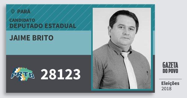 Santinho Jaime Brito 28123 (PRTB) Deputado Estadual | Pará | Eleições 2018