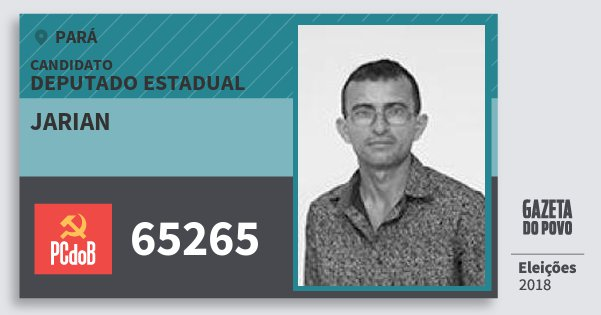Santinho Jarian 65265 (PC do B) Deputado Estadual | Pará | Eleições 2018