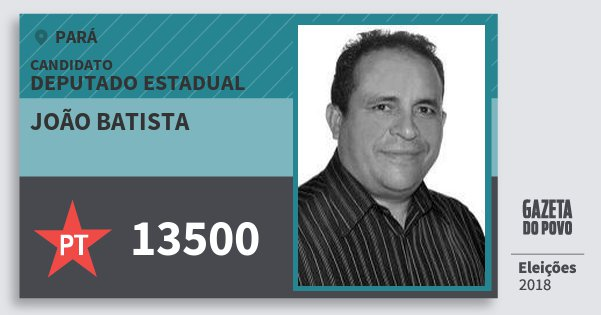 Santinho João Batista 13500 (PT) Deputado Estadual | Pará | Eleições 2018
