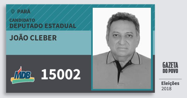 Santinho João Cleber 15002 (MDB) Deputado Estadual | Pará | Eleições 2018