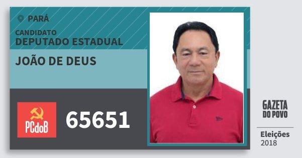 Santinho João de Deus 65651 (PC do B) Deputado Estadual | Pará | Eleições 2018