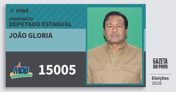 Santinho João Gloria 15005 (MDB) Deputado Estadual | Pará | Eleições 2018