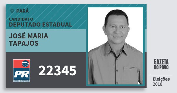 Santinho José Maria Tapajós 22345 (PR) Deputado Estadual | Pará | Eleições 2018