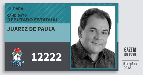 Santinho Juarez de Paula 12222 (PDT) Deputado Estadual | Pará | Eleições 2018