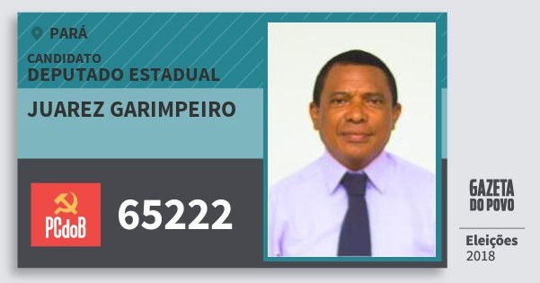 Santinho Juarez Garimpeiro 65222 (PC do B) Deputado Estadual | Pará | Eleições 2018