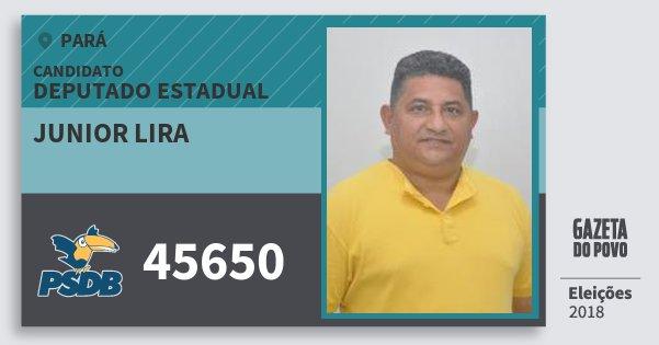 Santinho Junior Lira 45650 (PSDB) Deputado Estadual | Pará | Eleições 2018