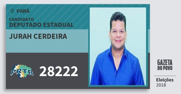 Santinho Jurah Cerdeira 28222 (PRTB) Deputado Estadual | Pará | Eleições 2018
