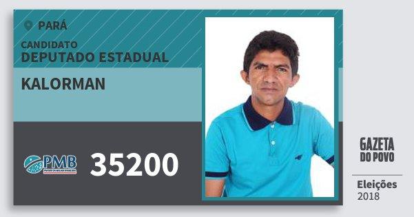 Santinho Kalorman 35200 (PMB) Deputado Estadual | Pará | Eleições 2018