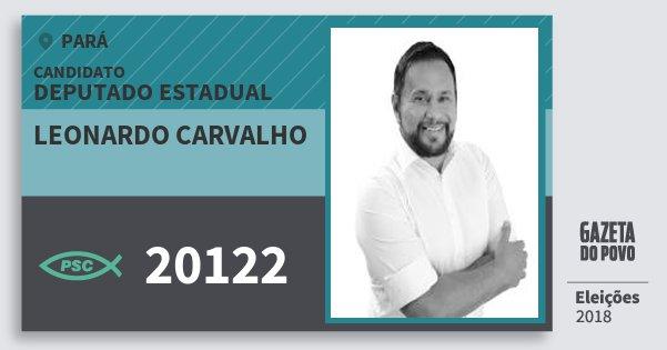 Santinho Leonardo Carvalho 20122 (PSC) Deputado Estadual   Pará   Eleições 2018