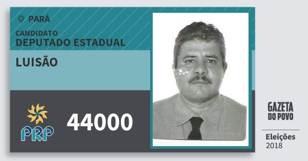 Santinho Luisão 44000 (PRP) Deputado Estadual | Pará | Eleições 2018