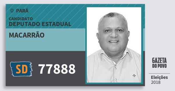 Santinho Macarrão 77888 (SOLIDARIEDADE) Deputado Estadual | Pará | Eleições 2018