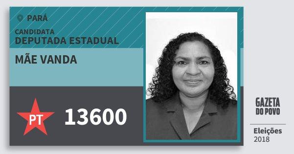 Santinho Mãe Vanda 13600 (PT) Deputada Estadual | Pará | Eleições 2018