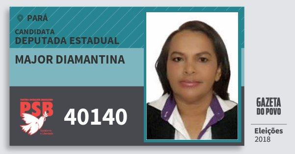 Santinho Major Diamantina 40140 (PSB) Deputada Estadual | Pará | Eleições 2018
