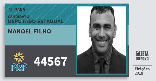 Santinho Manoel Filho 44567 (PRP) Deputado Estadual | Pará | Eleições 2018