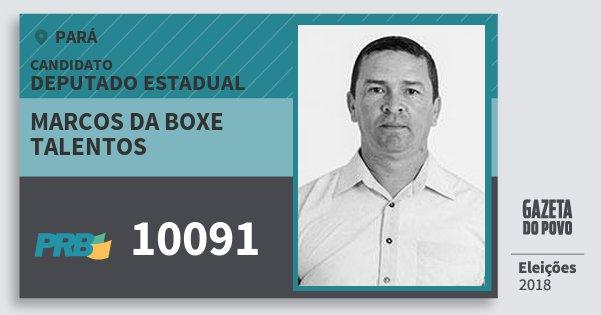 Santinho Marcos da Boxe Talentos 10091 (PRB) Deputado Estadual | Pará | Eleições 2018