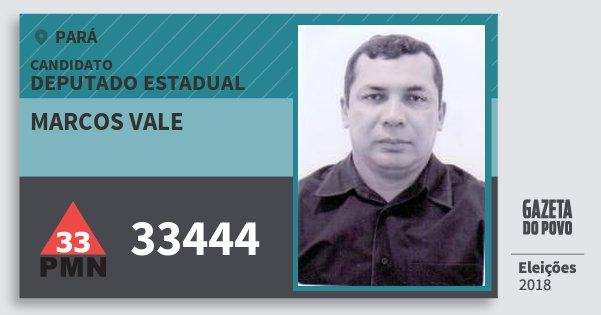 Santinho Marcos Vale 33444 (PMN) Deputado Estadual | Pará | Eleições 2018