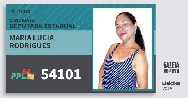 Santinho Maria Lucia Rodrigues 54101 (PPL) Deputada Estadual | Pará | Eleições 2018
