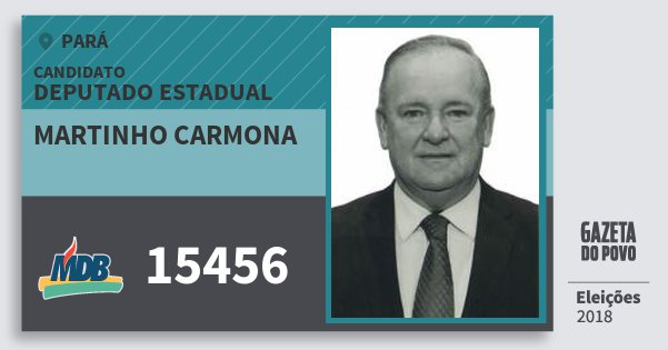 Santinho Martinho Carmona 15456 (MDB) Deputado Estadual | Pará | Eleições 2018
