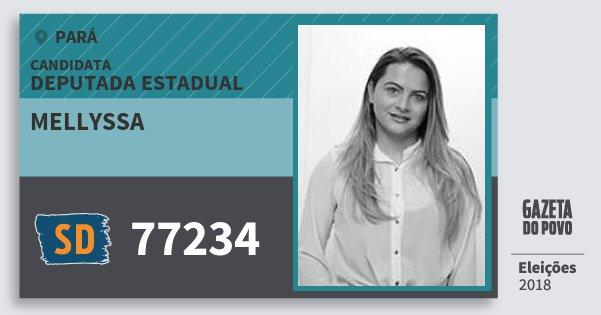 Santinho Mellyssa 77234 (SOLIDARIEDADE) Deputada Estadual | Pará | Eleições 2018