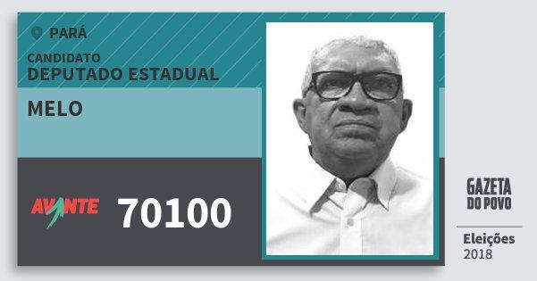 Santinho Melo 70100 (AVANTE) Deputado Estadual | Pará | Eleições 2018