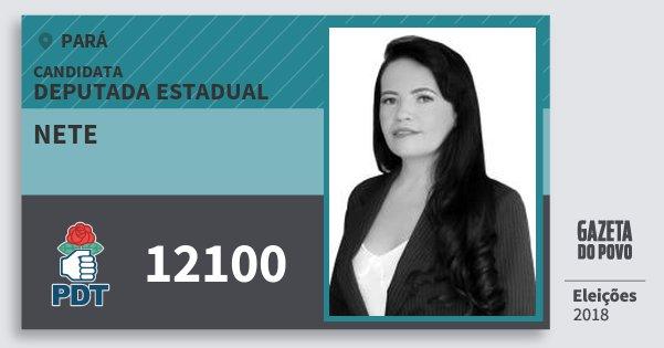 Santinho Nete 12100 (PDT) Deputada Estadual | Pará | Eleições 2018